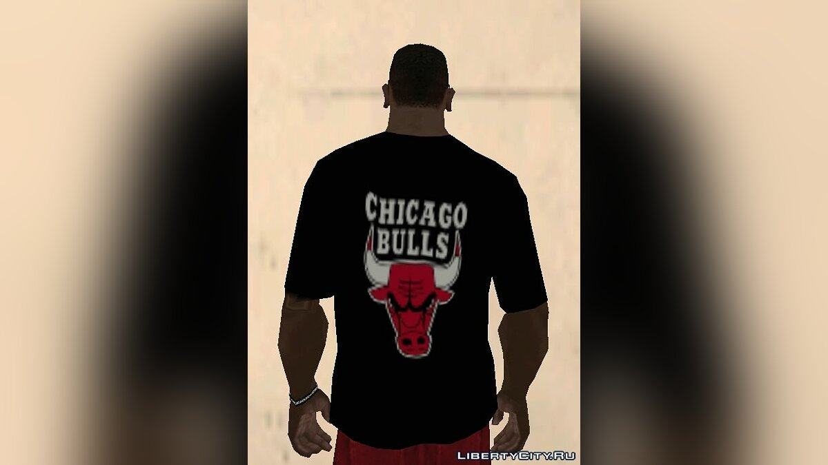 Chicago Bulls Shirt Black для GTA San Andreas - скриншот #3