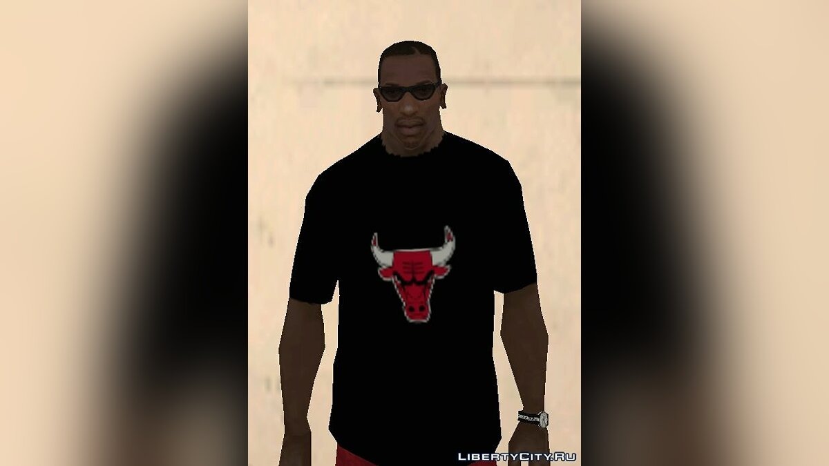 Chicago Bulls Shirt Black для GTA San Andreas - скриншот #2