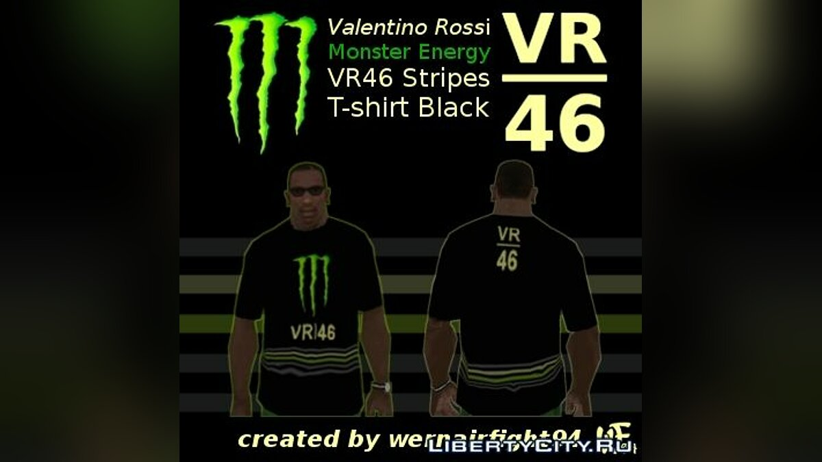 Valentino Rossi Monster Energy VR 46 Stripes T-shirt Black для GTA San Andreas