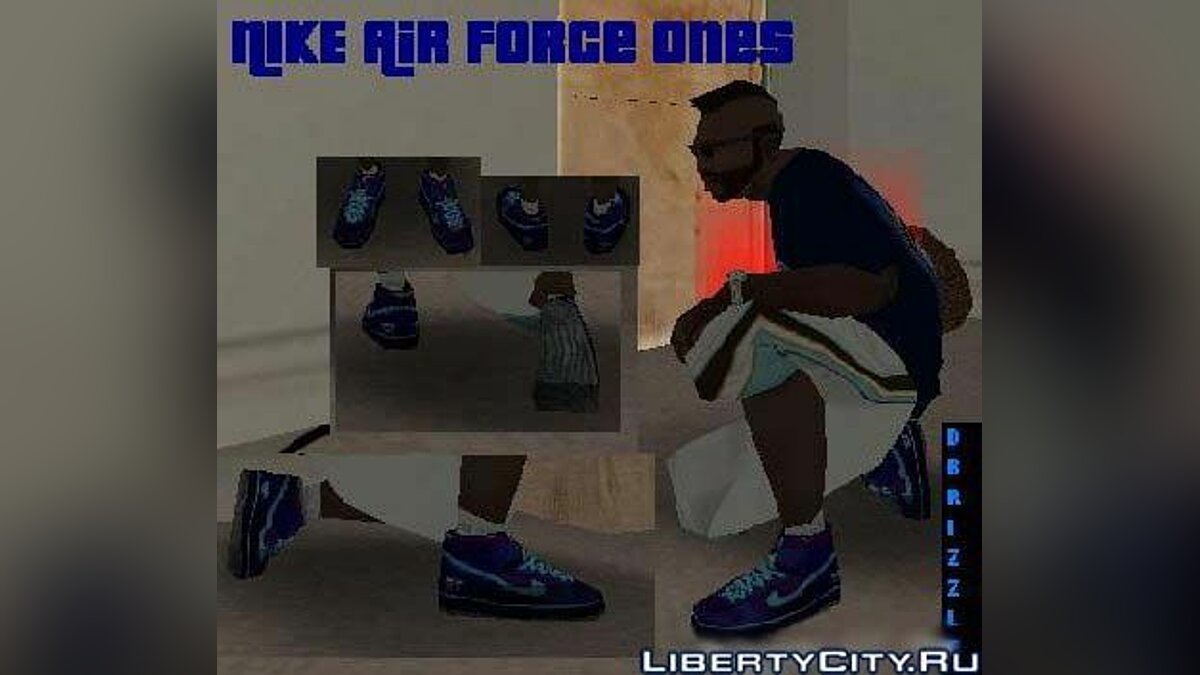 Nike Air Force Ones in Purple and Blue для GTA San Andreas - Картинка #1
