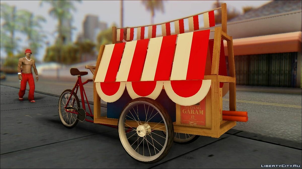Прикольная машина Gerobak Penjual Bendera Indonesia (Indonesian Flag Seller Cart) для GTA San Andreas