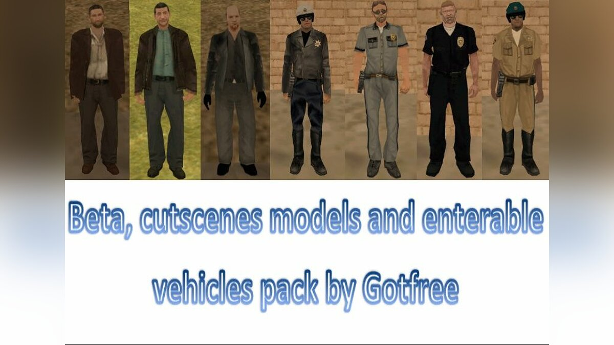 Beta, cutscenes models and enterable vehicles pack для GTA San Andreas