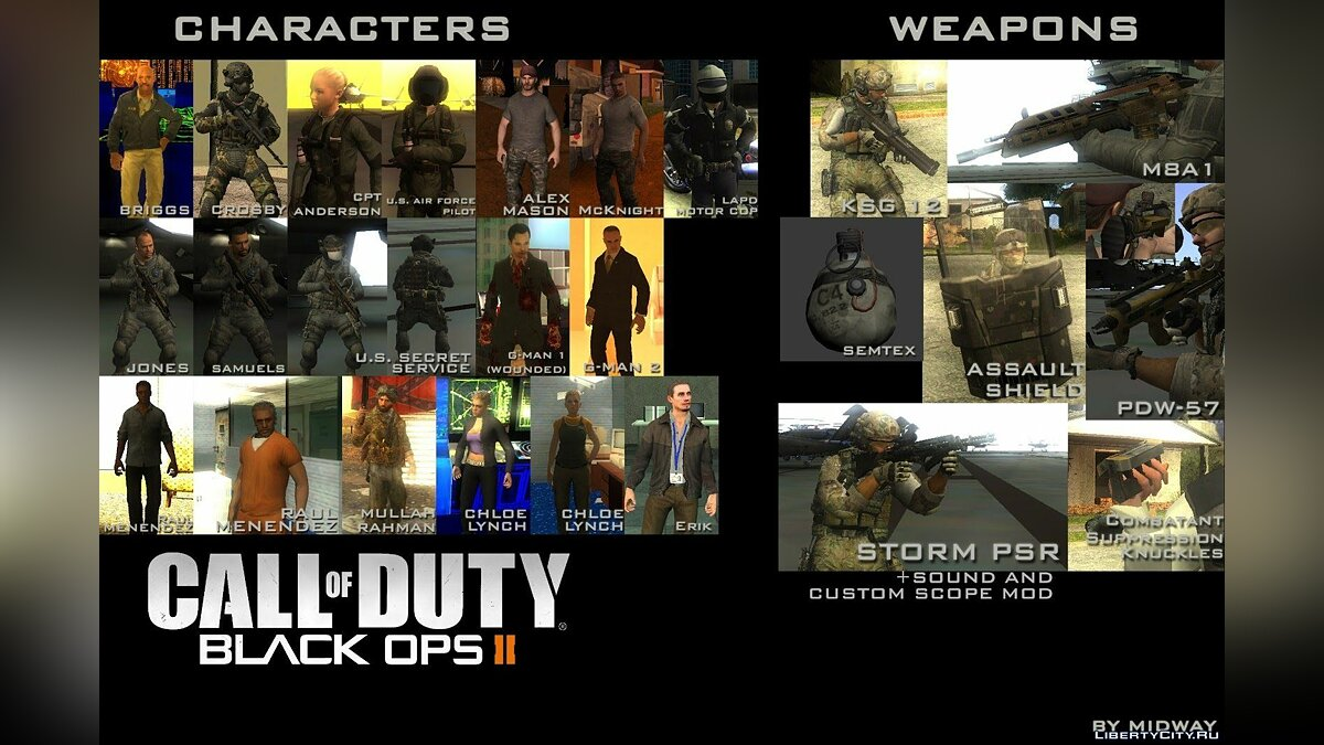 Call of Duty: Black Ops II Pack для GTA San Andreas