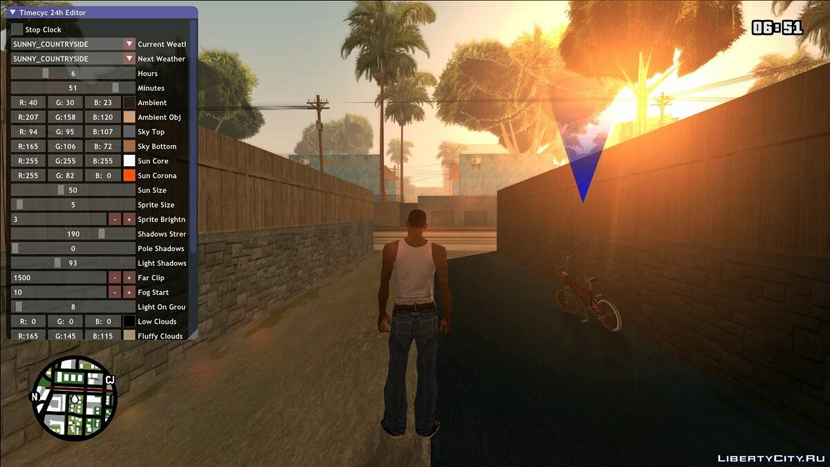 LUA скрипт In-game 24h TimeCycle Editor для GTA San Andreas
