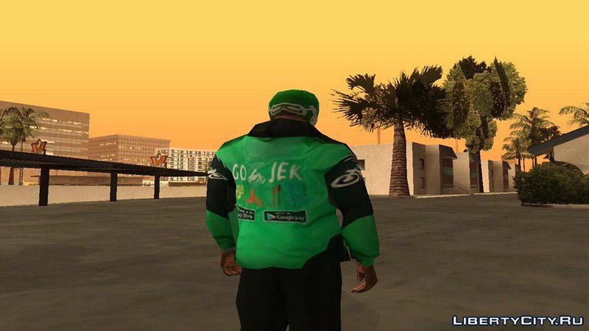 Go-Jek Kit (Helmet, Jacket, Motorcycle) для GTA San Andreas - скриншот #3