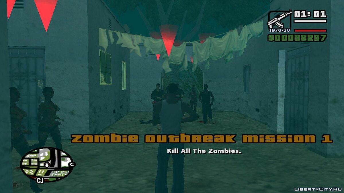 Новая миссия GTA Zombie Outbreak Mission 1 для GTA San Andreas