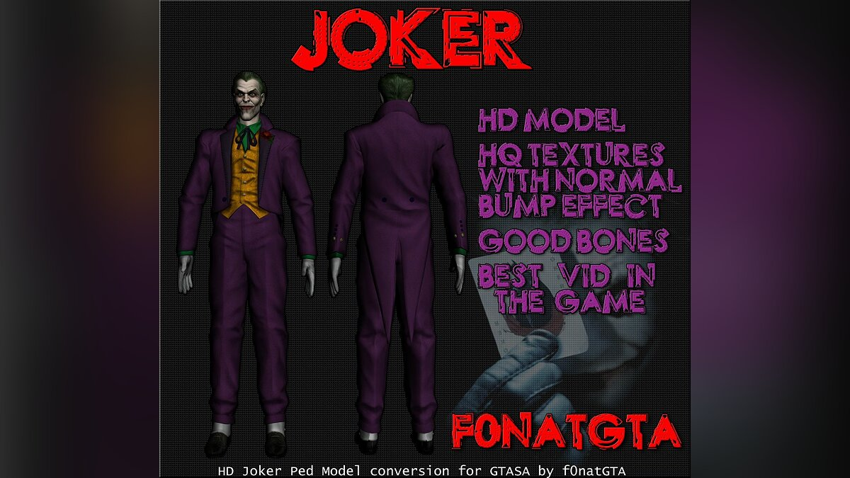 HQ Joker Skin for GTA SA для GTA San Andreas