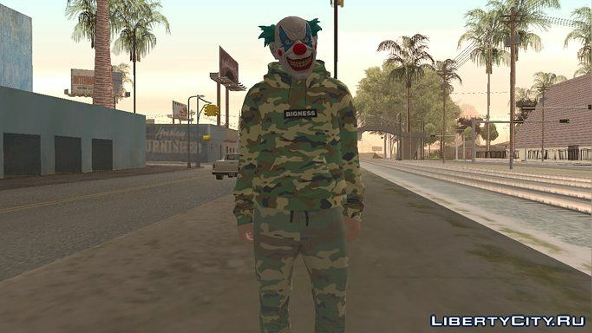 ��овый персонаж Skin GTA Online Clown Camouflaged для GTA San Andreas