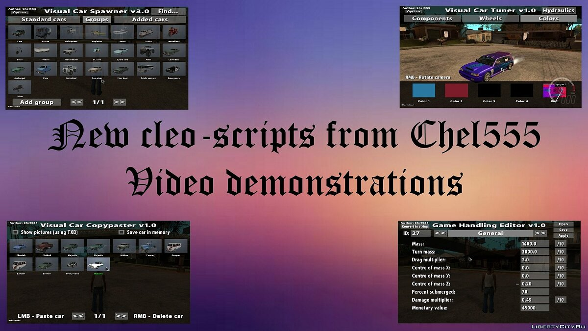 Videos of new cleo - scripts by Chel555 для GTA San Andreas