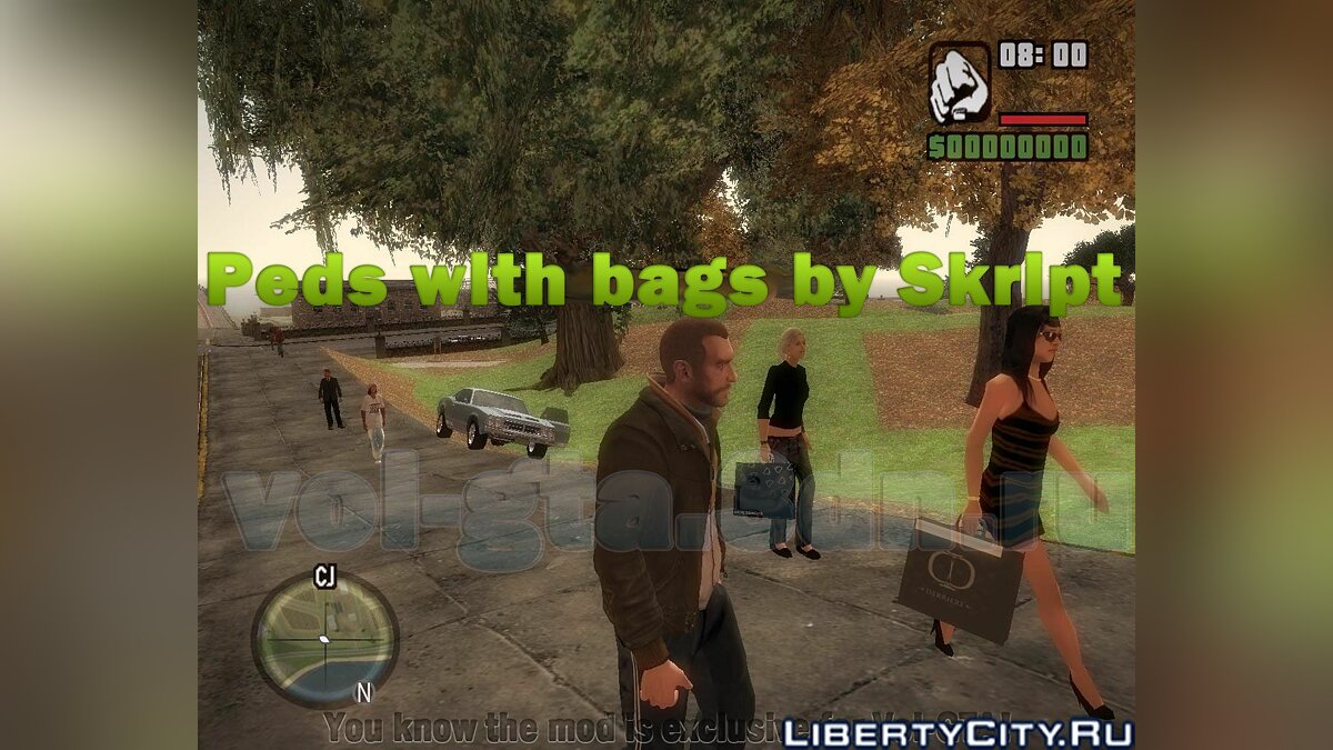 Peds with bags and phones v1.0 для GTA San Andreas