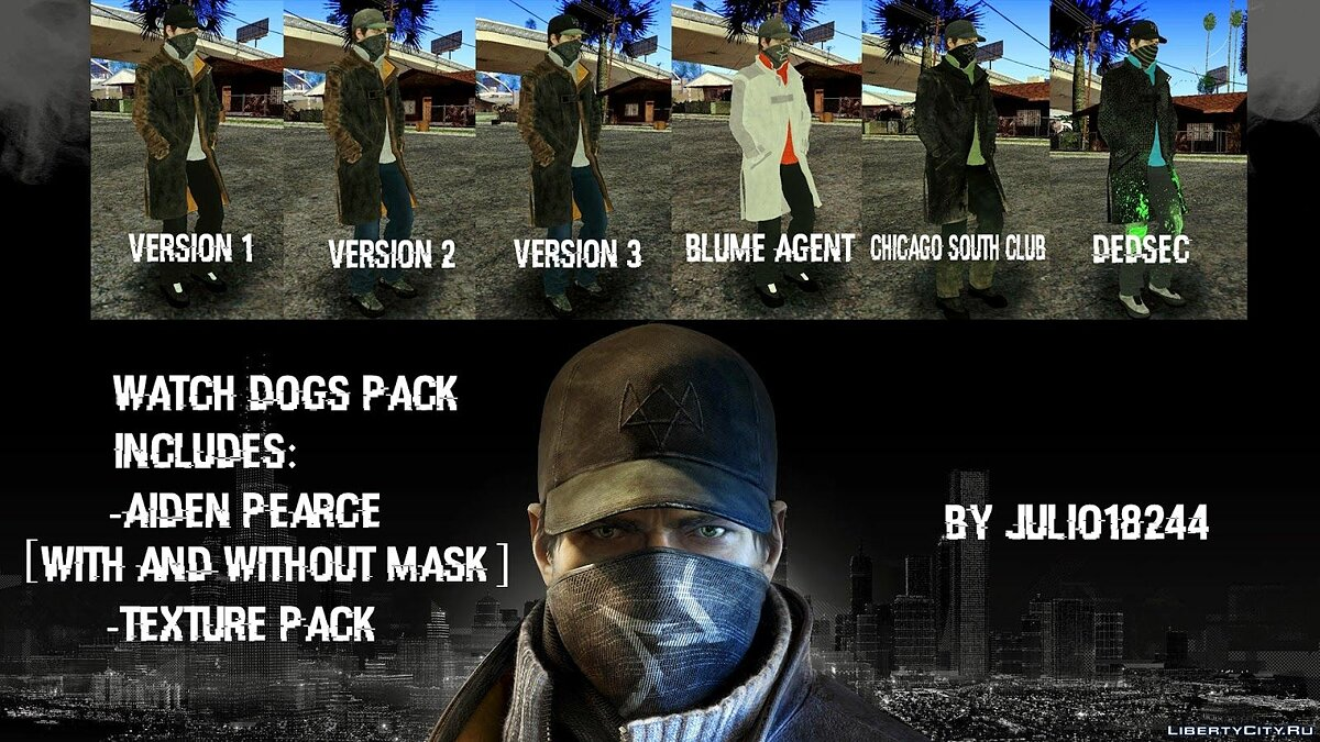 Aiden Pearce Skin Pack для GTA San Andreas