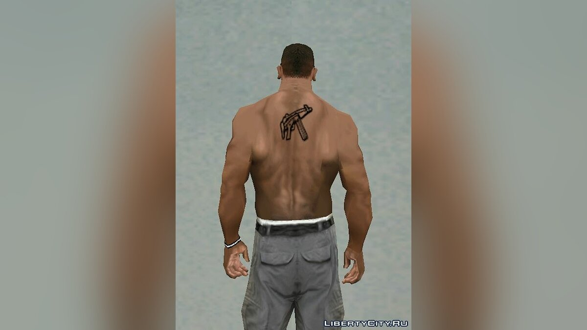 MP5 Back Tattoo Black для GTA San Andreas - скриншот #2