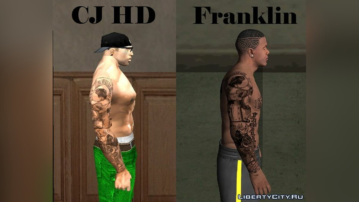 Татуировка Tatuaje variado Sleeve para CJ HD Y Franklin - Тату на всю руку для Сиджея и Франклина для GTA San Andreas
