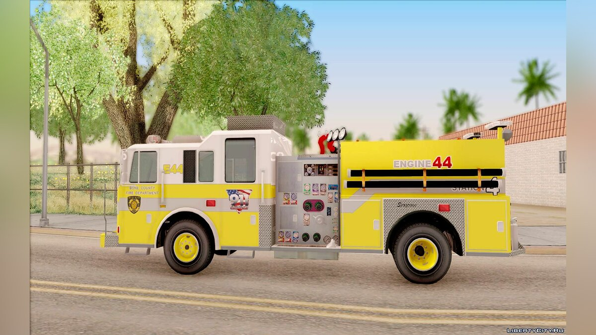 Seagrave Marauder II BCFD Engine 44 Yellow для GTA San Andreas - скриншот #6