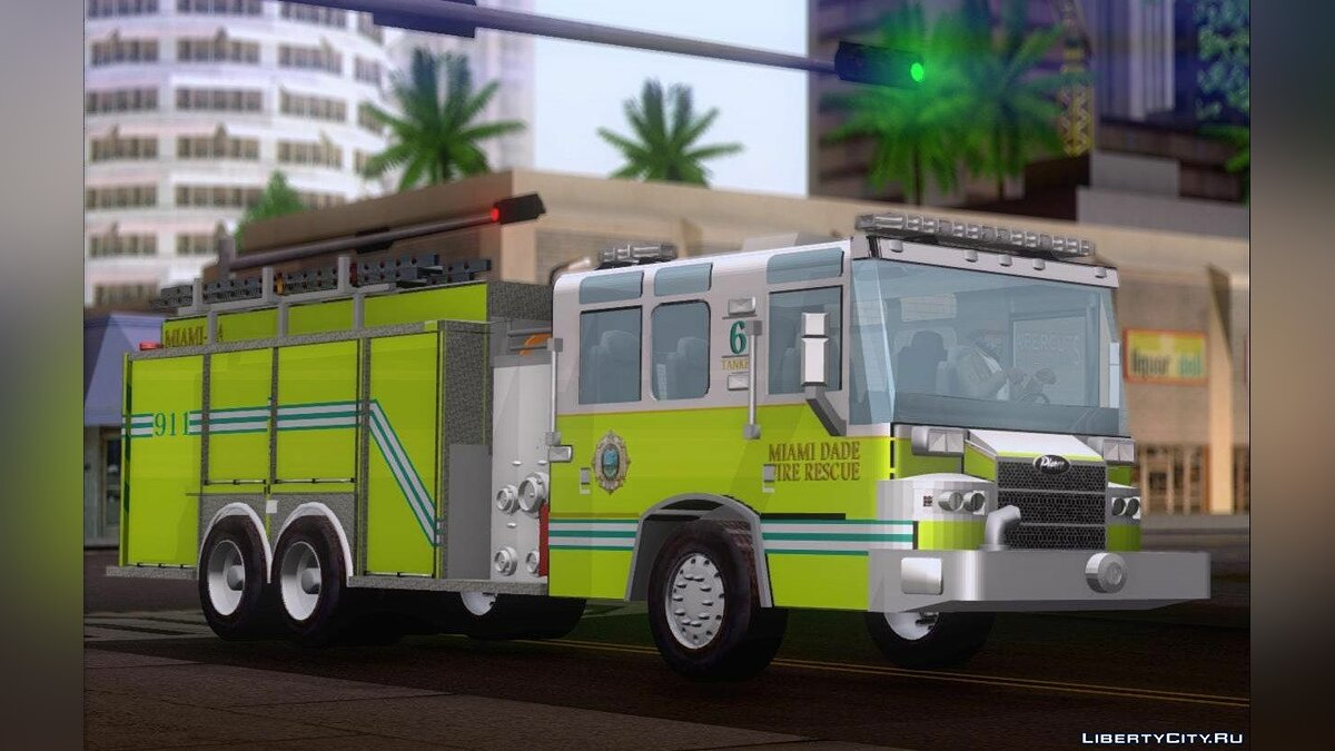 Pierce Quantum Miami Dade Fire Department Tanker 6 для GTA San Andreas