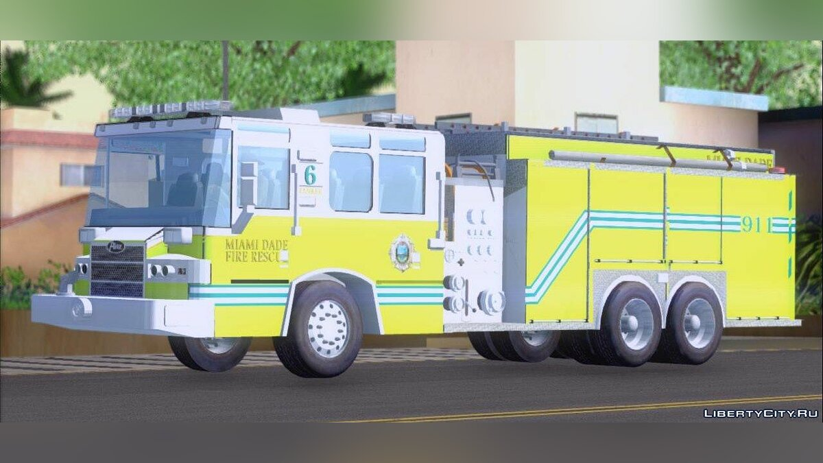 Pierce Quantum Miami Dade Fire Department Tanker 6 для GTA San Andreas - скриншот #2
