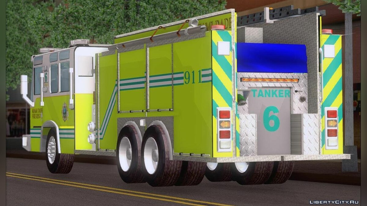 Pierce Quantum Miami Dade Fire Department Tanker 6 для GTA San Andreas - скриншот #4