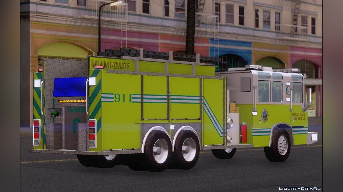 Pierce Quantum Miami Dade Fire Department Tanker 6 для GTA San Andreas - скриншот #6