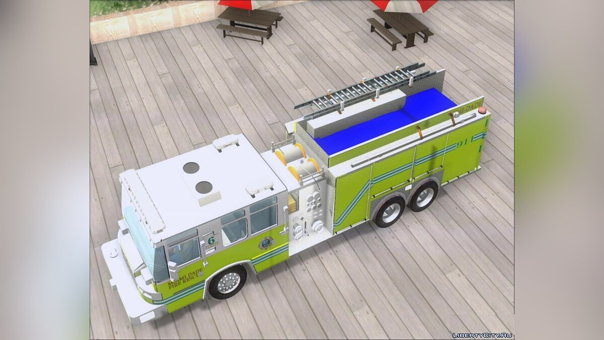 Pierce Quantum Miami Dade Fire Department Tanker 6 для GTA San Andreas - скриншот #5