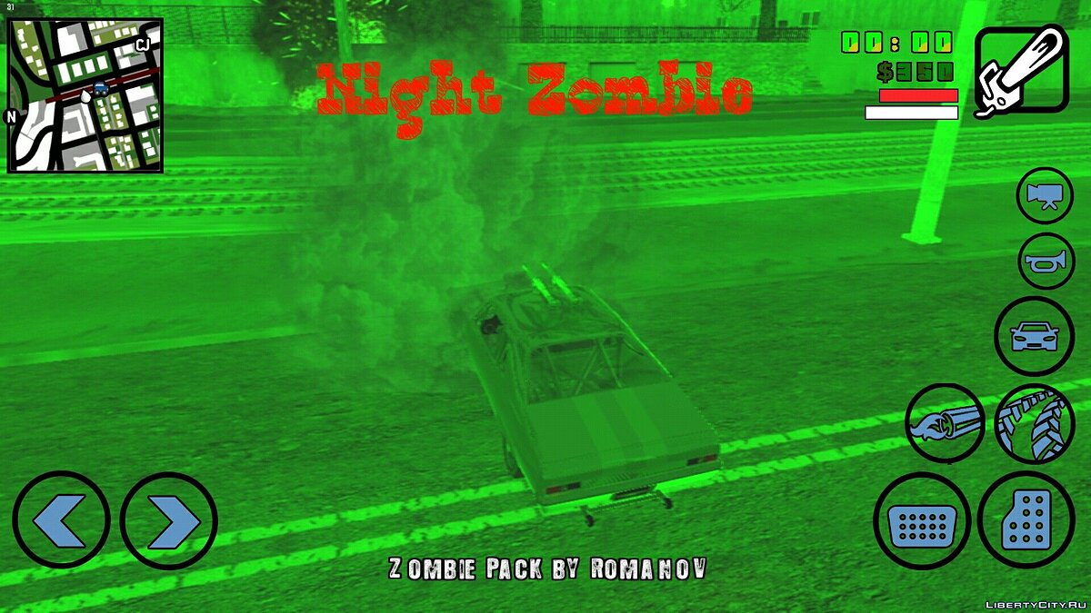 ��ольшой мод Night Zombie (beta 0.1) для GTA San Andreas (iOS, Android)