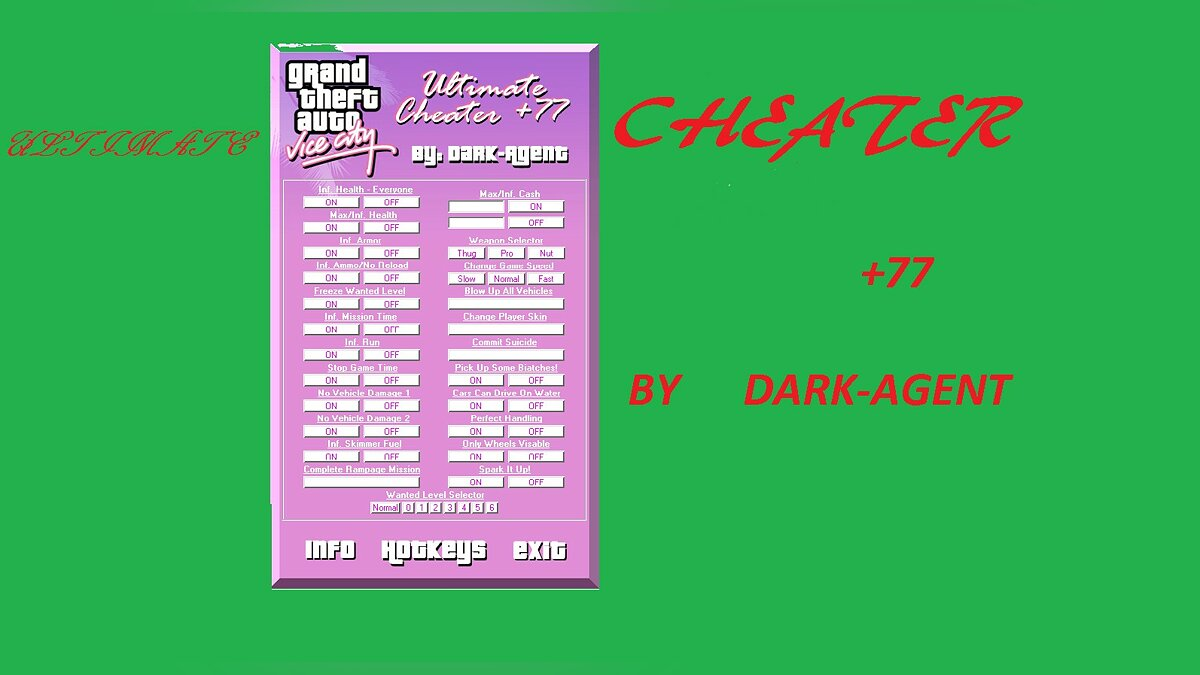 Трейнер Ultimate Cheater +77 для GTA Vice City