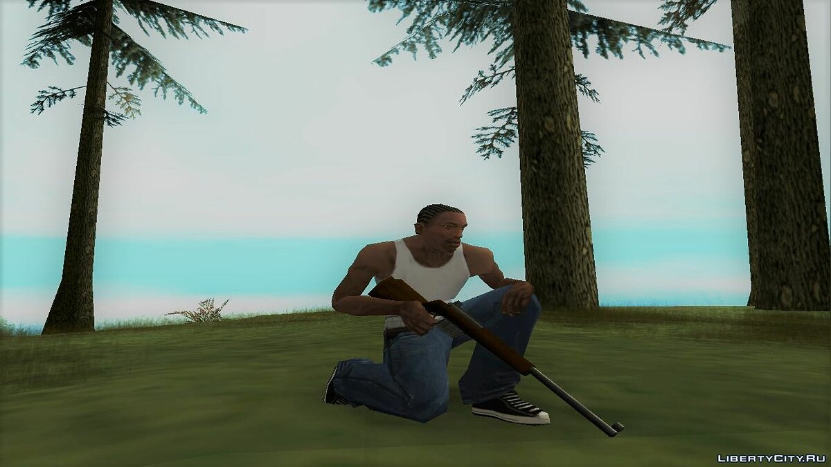 Оружейный мод New Hunting Rifle - Manhunt Style для GTA San Andreas