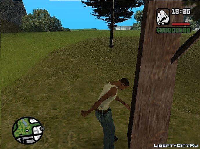 Cj бросила девушка и теперь он бьется головой об дерево :)