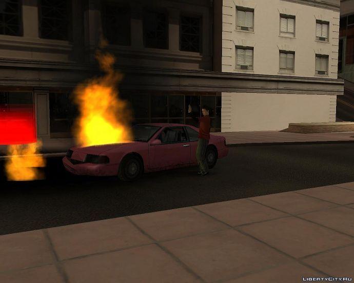 Он походу не видит что машина горит