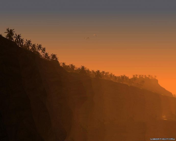 Mountains & Palms At Sunset