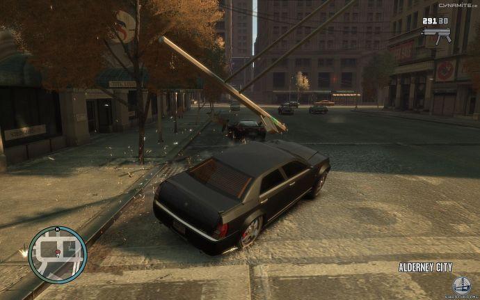 Упавший столб в GTA 4