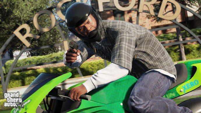 Франклин за рулем зеленого байка