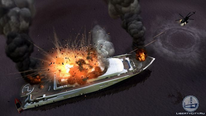 Вертолет атакует яхту
