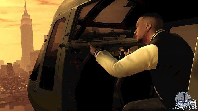 Луис стреляет из вертолета