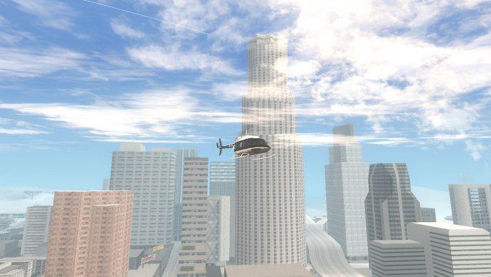 Полицейский вертолет летит по зимнему Лос Сантосу