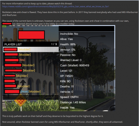 Изменения в античите GTA Online привели к огромной волне банов